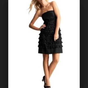 Gap black ruffle strapless dress